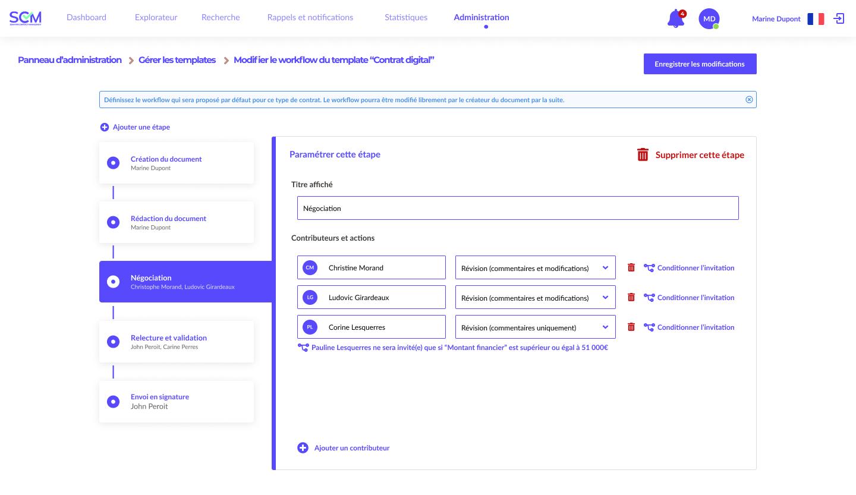 Paramétrez votre workflow de validation interne et tout le reste de votre workflow contractuel grâce à Seraphin Contract Management